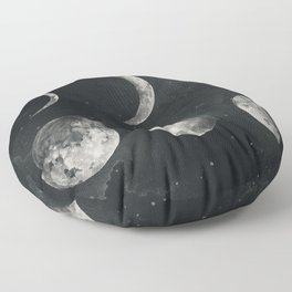 Watercolor moon phases Floor Pillow