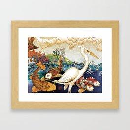 Koi & Egret Framed Art Print