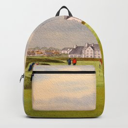 Carnoustie Golf Course Scotland With Clubhouse Backpack