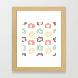 cute colorful flat camera pattern background illustration Framed Art Print