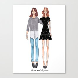 Custom Mother Daughter Illustration Canvas Print