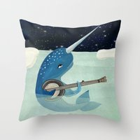 banjo Throw Pillows featuring Narwhal's Aquarelle - Narwhal Plays Banjo by Prelude Posters