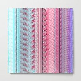 Pastel Quilt Design in Pink, Purple, Blue Metal Print