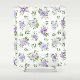 Hand painted lavender violet green watercolor floral Shower Curtain
