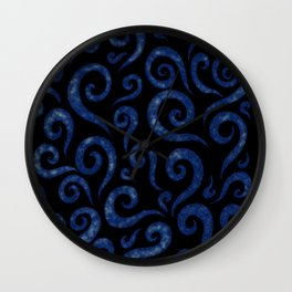 Blue Swirls Pattern Wall Clock