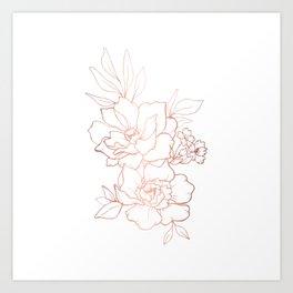 Peony Blossoms Vertical - Rose Gold Art Print