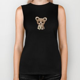 Cute Baby Bear With Football Soccer Ball Biker Tank