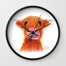 Scottish Highland Cow ' GaRLiC ' by Shirley MacArthur Wall Clock