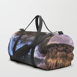 Waterfall from sky view Duffle Bag