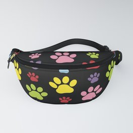 Colorful Paws, Puppy Traces, Trails, Animal Paws Fanny Pack