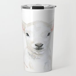 Lamb Face Watercolor Travel Mug