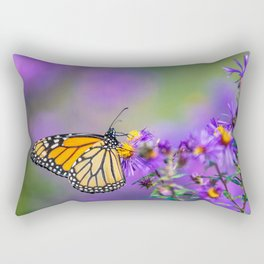 Monarch butterfly on aster purple flowers Rectangular Pillow