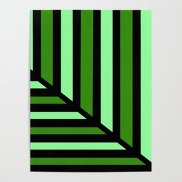 Green Perspective Line Art Poster