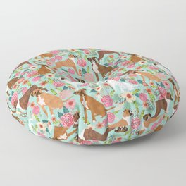 Boxer floral dog breed gifts for boxer lovers pet florals boxers must haves Floor Pillow