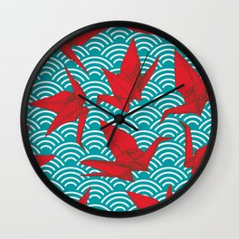 Origami red paper cranes sketch. burgundy maroon line Nature oriental Wall Clock