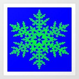 Snowflake in Blue Field, Gift Art Print