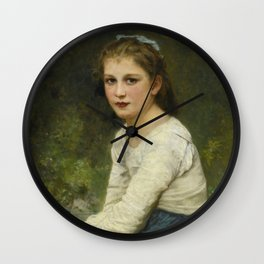 "William-Adolphe Bouguereau ""Young girl with grapes (Jeune fille aux raisins)"" Wall Clock"