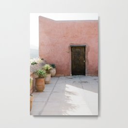 Magical Morocco - Ourika | Coral colored house and wooden door in the atlas mountains Metal Print