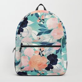 Girly Pink Blue & mint Floral Watercolor paint Backpack