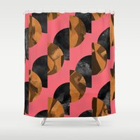 black and gold Shower Curtains featuring gold,black by Georgiana Paraschiv