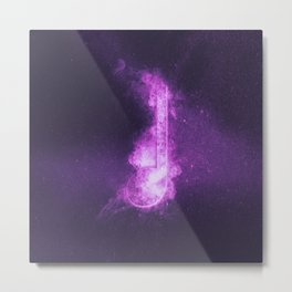 Quarter music note symbol. Abstract night sky background Metal Print