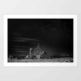 Neverwinter - Abandoned House Under Starry Night Sky in Black and White Art Print