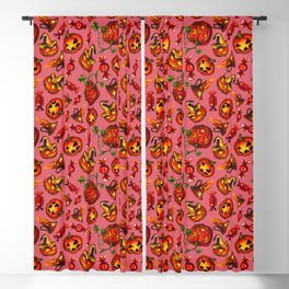 Halloween watercolor pattern with pumpkins, sweets and candles Blackout Curtain