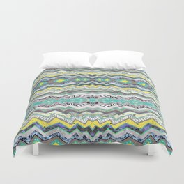 Teal Yellow White Midnight Aztec Duvet Cover