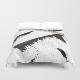 Sassy: a minimal abstract mixed-media piece in black, white, and gold by Alyssa Hamilton Art Duvet Cover