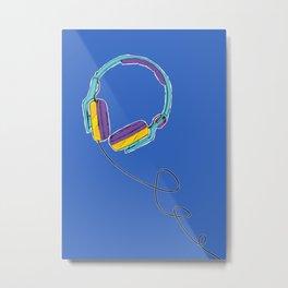 Pop Music Colourful Headphones Metal Print