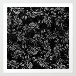 Elegant black faux silver vintage rose floral Art Print
