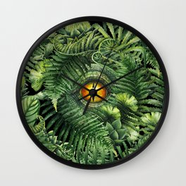 Watercolor dinosaur eye and prehistoric plants Wall Clock