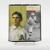 bender Shower Curtains featuring Baseball Vintage Bender by Art Lahr
