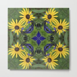 Blue Salvia Compass Points in a Ring of Rudbeckia Metal Print