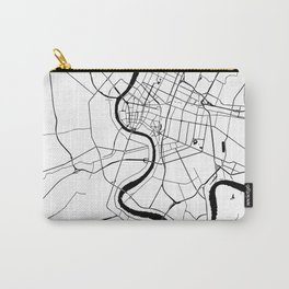 Bangkok Thailand Minimal Street Map - Black and White Carry-All Pouch