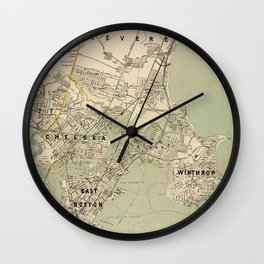 Vintage Winthrop, Chelsea, East Boston & Revere MA Map Wall Clock