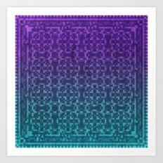 Pixel Patterns Green/Purple Art Print