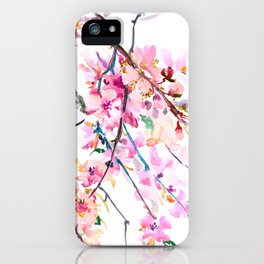 Cherry Blossom pink floral spring design cherry blossom decor iPhone Case