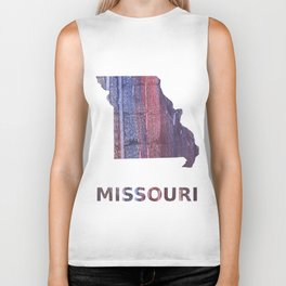 Missouri map outline Red Blue stained watercolor texture Biker Tank