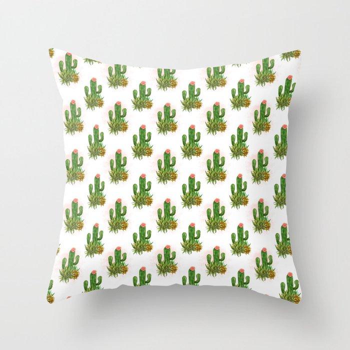 Cacti and succulents arrangement Throw Pillow