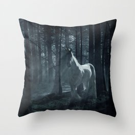 Unicorn in the Forest Throw Pillow