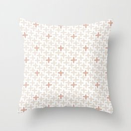 Cross Stich, Blush Pink Throw Pillow