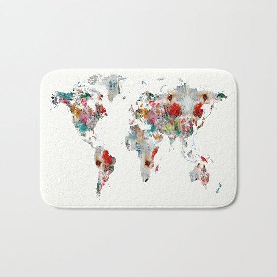 world map abstract  Bath Mat