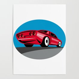 American Muscle Car Oval Retro Poster