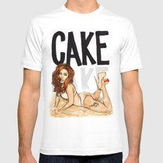 CAKE  White Mens Fitted Tee MEDIUM