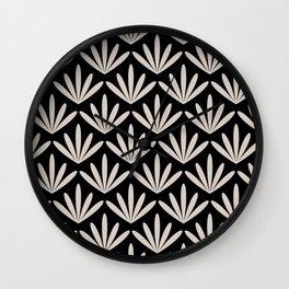 Retro Art, Leaves Print, Black and Beige, Floral Prints Wall Clock