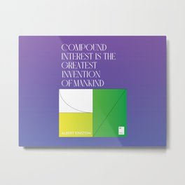Compound interest is the greatest invention of mankind Metal Print