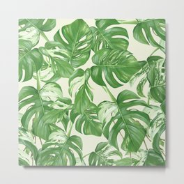 Monstera tropical leaves pattern Metal Print