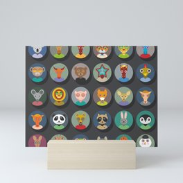 Set of animals faces circle icons set in Trendy Flat Style. zoo Mini Art Print