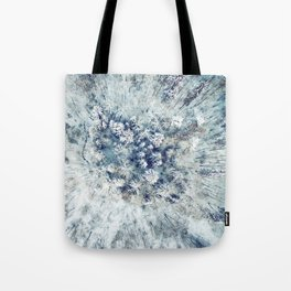 AERIAL. Frozen forest in winter Tote Bag